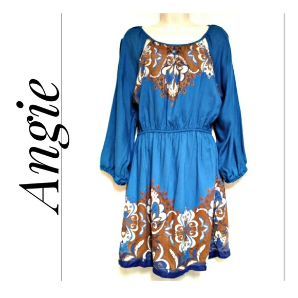 Angie Tops - Angie Teal and Rust Paisley Tunic Top Size Medium